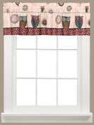 Spice Owls kitchen curtain valance
