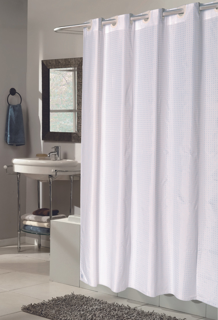Checks White Ez On Hookless Fabric Shower Curtain