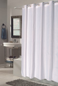 EZ On Shower Curtain - No Shower Hooks required - Check - White