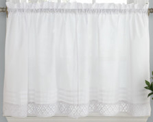 "Pleated Crochet 24"" kitchen curtain tier - White"