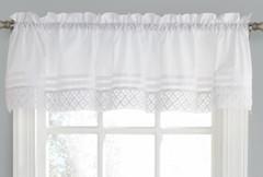 Pleated Crochet kitchen valance - White