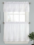Pleated Crochet Kitchen Curtain - White from Lorraine Home Fashions
