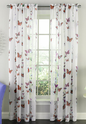Butterflies Rod Pocket Curtain Panel - Pink from Lorraine Home Fashions