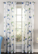Butterflies Rod Pocket Curtain Panel - Blue from Lorraine Home Fashions