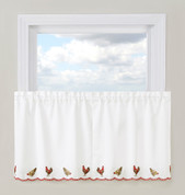 """Roosters 36"""" kitchen curtain tier"""