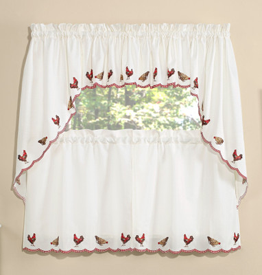 Roosters Embroidered Kitchen Curtain