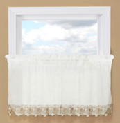 "Lillian Macrame 24"" kitchen curtain tier - Ivory"