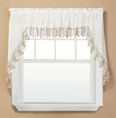 Lillian Macrame kitchen curtain swag