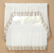 Lillian Macrame Embroidered Kitchen Curtain Ivory from Renaissance