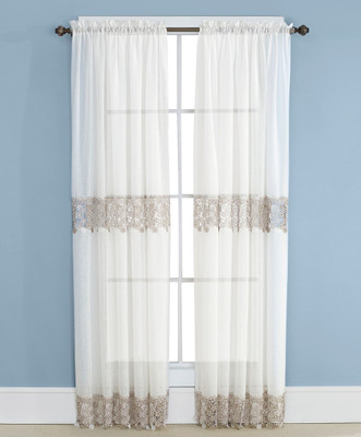 Lillian Macrame Embroidered Curtain Panel - Ivory (picture shows 2 panels)