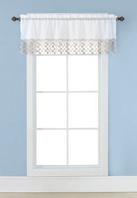 Lillian Macrame Embroidered Valance - Ivory