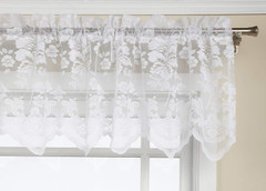 Floral Vine lace curtain valance - White