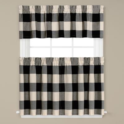 Grandin Check Kitchen Curtain - Black from Saturday Knight