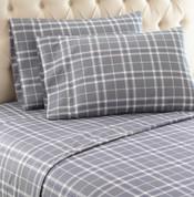 Shavel Micro Flannel Sheet Set - Carlton Plaid Grey