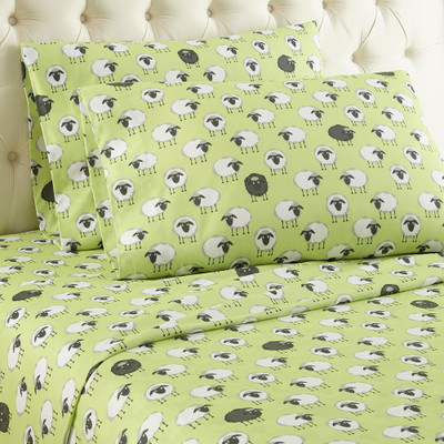 Micro Flannel Sheet Set - Sheep Green