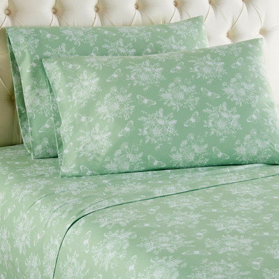 Micro Flannel Sheet Set - Toile Celadon Green