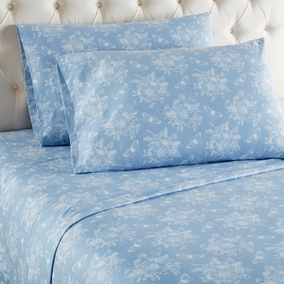 Micro Flannel Sheet Set - Toile Wedgewood Blue