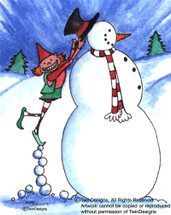 Elf Snowman Greeting Card