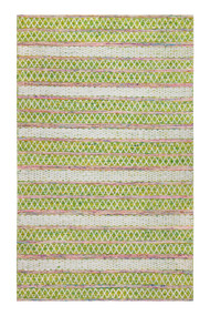 Saranya Hand-Loomed Green and Pink Area Rug  - 5' x 8'