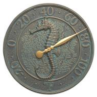Whitehall Seahorse Sealife Thermometer - Bronze Verdigris - Aluminum