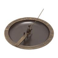 Whitehall Fisherboy Sundial Birdbath - French Bronze - Aluminum