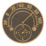 Whitehall Solstice Thermometer Clock - French Bronze - Aluminum