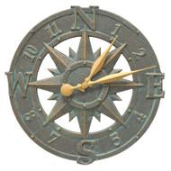 """Whitehall 16"""" Compass Rose Clock - Bronze Verdigris - Aluminum"""