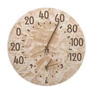 Whitehall Fossil Sumac Thermometer Clock - Weathered Limestone - Aluminum