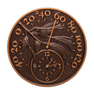 Whitehall Pinecone Thermometer Clock - Antique Copper - Aluminum