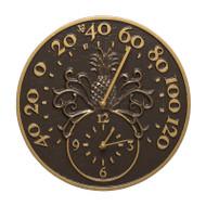 Whitehall Pineapple Thermometer Clock - French Bronze - Aluminum