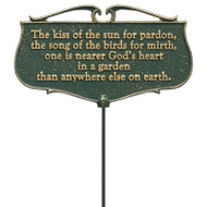 Whitehall  The Kiss of the Sun...  - Garden Poem Sign - Aluminum