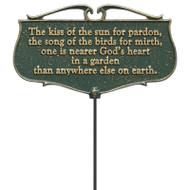 Whitehall  The Kiss of the Sun...  - Garden Poem Sign - Aluminum