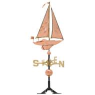 Whitehall Copper Sailboat Weathervane - Polished - Copper