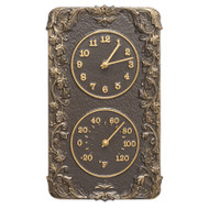 Whitehall Acanthus Combo Clock And Thermomter - French Bronze - Aluminum