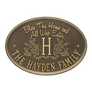 Whitehall Bless This Home Monogram Oval Plaque, Standard Wall 1-line