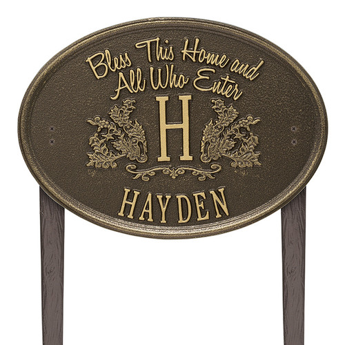 Whitehall Bless This Home Monogram Oval Plaque, Standard Lawn 1-line