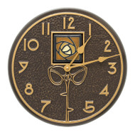 "Whitehall Amber Dard Hunter Rose 12"" Indoor Outdoor Wall Clock - French Bronze"