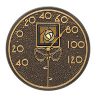 """Whitehall Amber Dard Hunter Rose 12"""" Indoor Outdoor Wall Thermometer - French Bronze"""