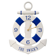 Whitehall Anchor & Buoy Personalized Indoor Outdoor Wall Clock - White / Navy
