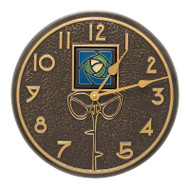 "Whitehall Blue Dard Hunter Rose 12"" Indoor Outdoor Wall Clock - French Bronze"