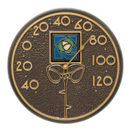 "Whitehall Blue Dard Hunter Rose 12"" Indoor Outdoor Wall Thermometer - French Bronze"