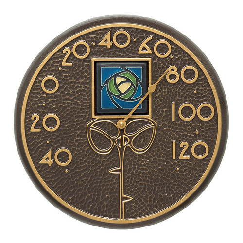 """Whitehall Blue Dard Hunter Rose 12"""" Indoor Outdoor Wall Thermometer - French Bronze"""
