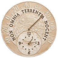 "Whitehall Celestial 14"" Indoor Outdoor Wall Clock & Thermometer"