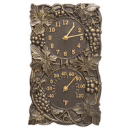 Whitehall Grapevine Indoor Outdoor Wall Clock & Thermometer