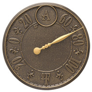 """Whitehall Monogram 16"""" Indoor Outdoor Wall Thermometer - French Bronze"""