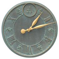 """Whitehall Monogram 16"""" Personalized Indoor Outdoor Wall Clock - Bronze Verdigris"""