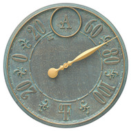 "Whitehall Monogram 16"" Personalized Indoor Outdoor Wall Thermometer - Bronze Verdigris"