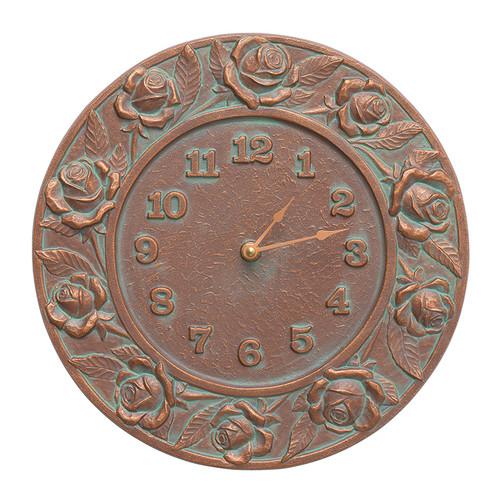 "Whitehall Rose 12"" Indoor Outdoor Wall Clock"