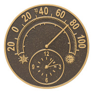 "Whitehall Solstice 14"" Indoor Outdoor Wall Clock & Thermometer"