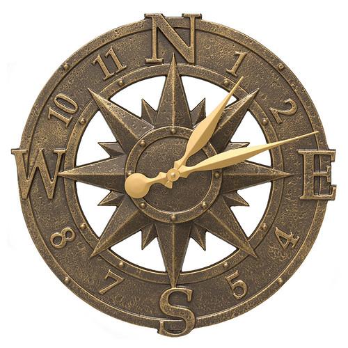 """Whitehall 16"""" Compass Rose Clock Indoor Outdoor"""